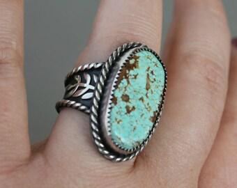 Number 8 turquoise ring - metalwork - sterling silver ring - silver and turquoise - statement ring - southwestern - bohemian - large ring
