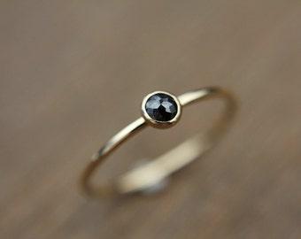 8c18da6fdb4 Skinny solid gold black diamond ring - 14k gold - rose cut diamond -  stackable ring - simple band - skinny stacking ring - minimalist