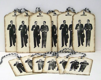 """Men's 50's Fashion tags...2"""" x 3 3/4"""" tags with bakers twine...set of 12...weddings...party...bachelor party...hand stamped...distressed!"""