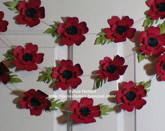 Poppy Garland Red...Home Decor...9 Feet of Gorgeous Poppy like Flowers...3 piece Flowers and Leaves...Home Decor...Photo Prop...Swag!