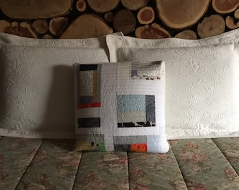 scrappy white, shabby chic, cottage chic ... quilted pillow cover ... 20x20 ... FREE shipping