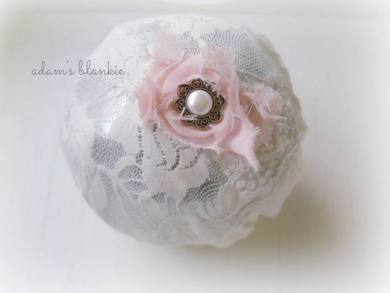 Mona  Pink and Cream Ruffled Lace Headband  Rosette Pearl  image 0