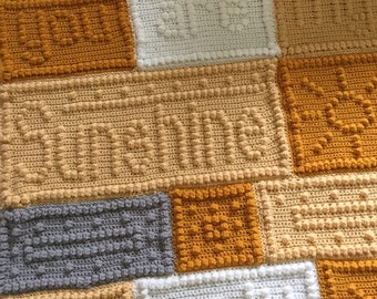Crochet You Are My Sunshine Afghan Blanket Word Block