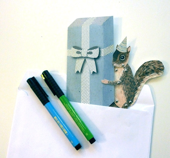 Blue White Gift for Paper Play Brown Unique Fun DIY Printable PDF Cute Squirrel Paper Puppet Card Set for Children