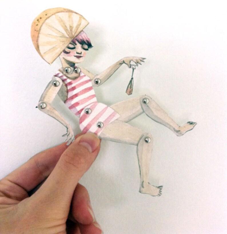 Printable PDF Pretty Girl Lemon Head Paper Puppet & Tea Cup image 0
