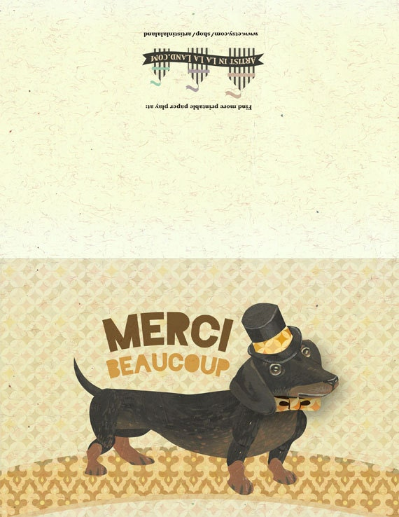 Sets of 20 Personalized DAPPER DACHSHUND Flat Notes//Stationery 20