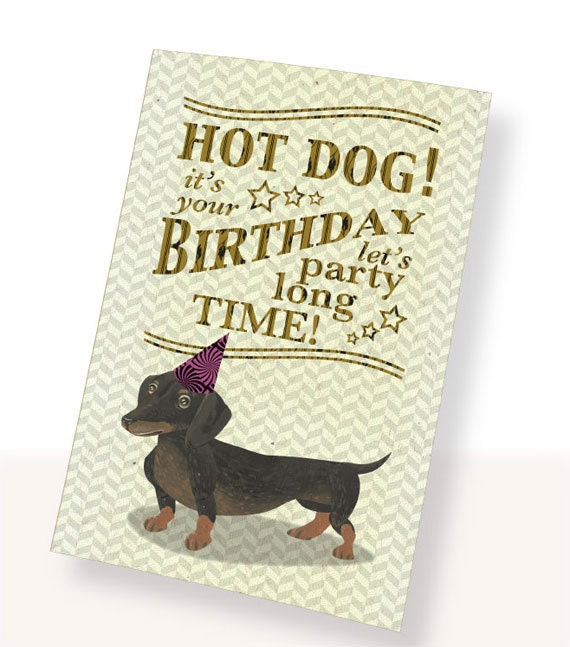 Printable Pdf Cute Dachshund Dog Birthday Card Brown White Etsy