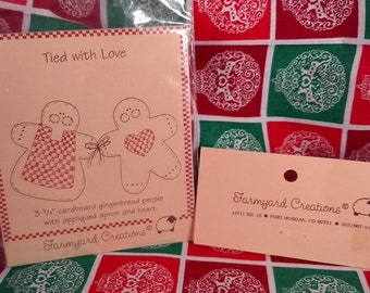 Vintage Farmyard Creations Tied with Love Gingerbread People uncut pattern