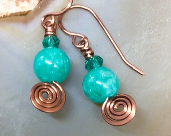 Turquoise Agate Wirework Drop Earrings Antique Copper Hammered Wire  Hammered Handmade Earwires  1.99 Shipping USA