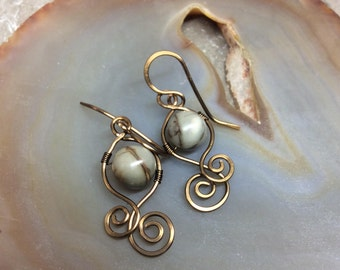 Wirework Jasper Dtop Earrings Antique Bronze Hammered Handmade Earwires    1.99 Shipping USA