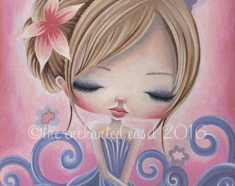 Girls Wall Art, Whimsical, Print, Swirls, Art Print, Girls Room, Rose Quartz, Beautiful Girl, Blue Dress, Flower in Hair