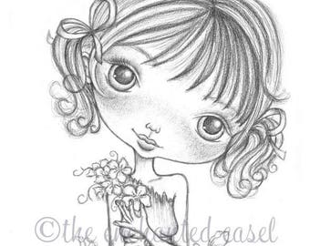 Girls Art Print, Drawing, Girls Room, Flowers, Big Eyes, Whimsical, Graphite, Girls Wall Art, Portrait, Commission, Bows, Pencil, Pigtails
