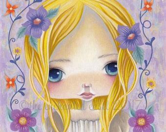 Big Eyes, Art Print, Girls Room, Flowers, Blonde Hair, Blue Eyes, Square, Whimsical, Girls Wall Art, Nursery Art, Beautiful Girl, Cute