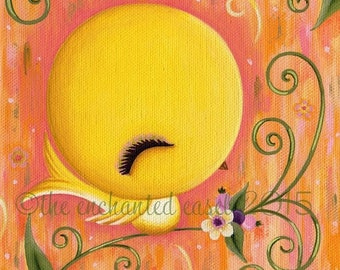HALF OFF Yellow Bird, Painting, Cute, Nursery Art, Girls Room, Square, Canvas, Whimsical, Kawaii, Canary, Bird, Girls Wall Art, Flowers