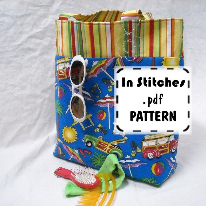 Reversible Bookbag Tote PDF pattern Tutorial EASY Instructions image 0