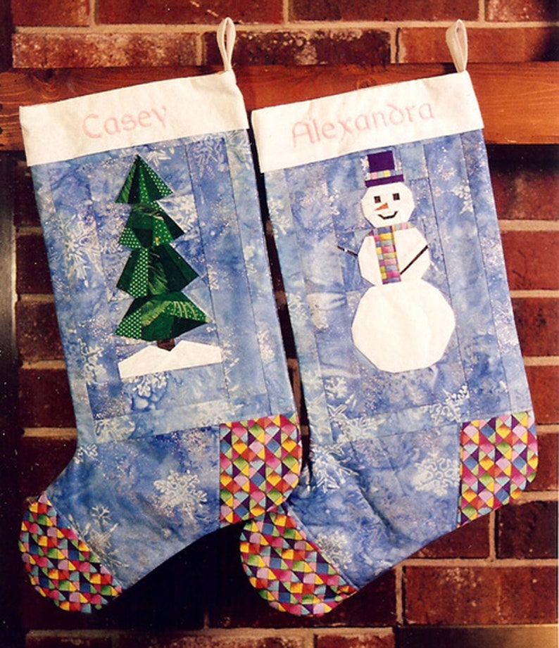Xmas Tree & Snowman Christmas Stocking PDF Pattern Paper image 0