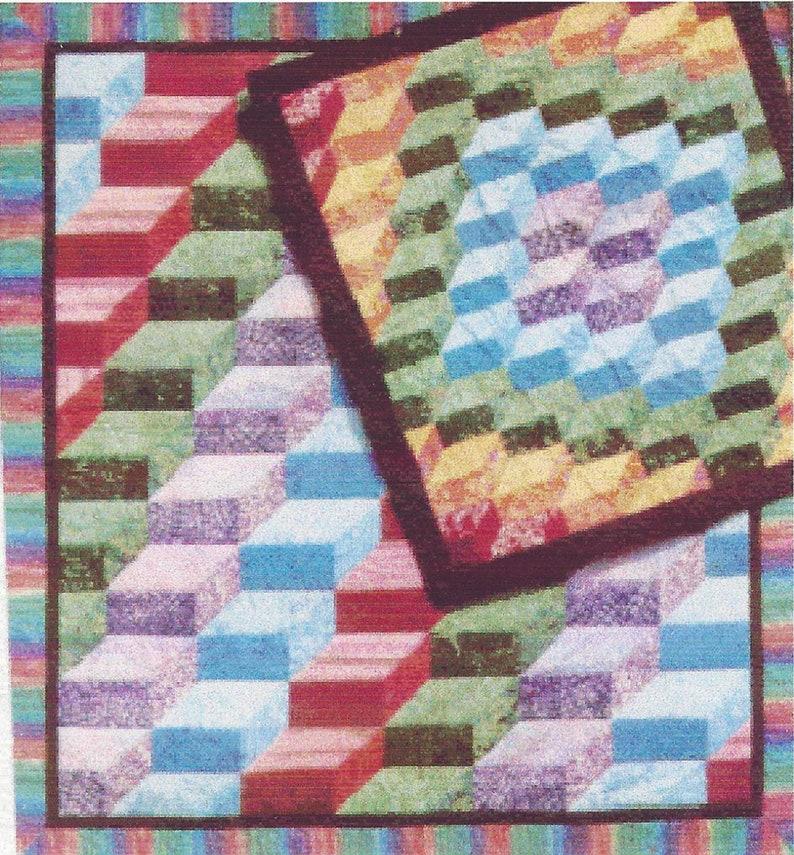 Rainbow Stairsteps Art Quilt PDF Pattern Easy Corners Row image 0