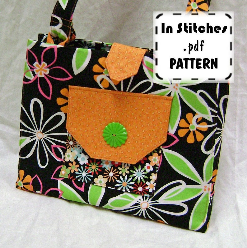 PDF Purse Pattern Shoulderbag Tailored Tote Tutorial Handbag image 0
