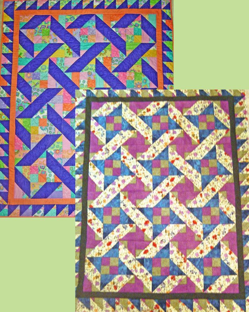 Jellyroll Weave Quilt PDF Pattern Easy Corner Scrappy image 0