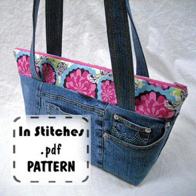 Zipper Shoulder PDF Purse Pattern-EASY Zippy Tote Tutorial-DIY image 0