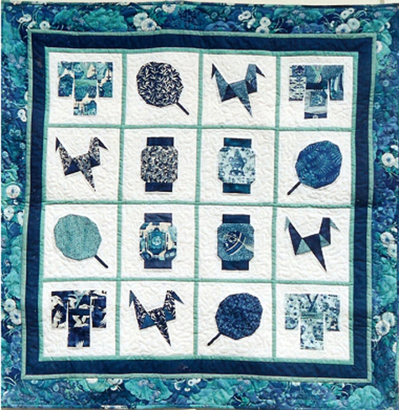 Japanese Dreams Quilt PDF Pattern Paper Foundation Piecing image 0