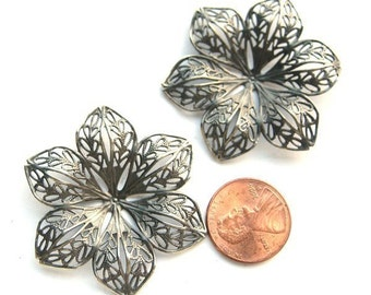 Oxidized Silver Stampted Filigree 45mm Flower, Set of 2, 1003-17