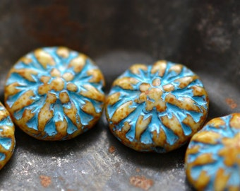 6 Full Bloom - Premium Czech Glass, Opaque Beige. Picasso, Turquoise Wash, Dahlia Flower Beads 14mm