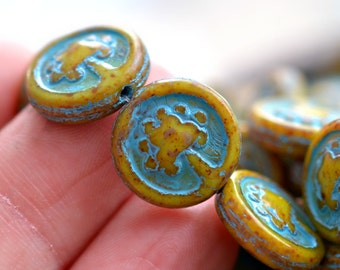 Tree Of Life - Czech Glass Beads, Opaque Ivory, Blue Picasso, Tree Coins 14mm - Pc 6