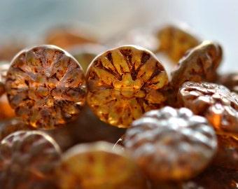 Letzten Eintrag! Rustikale Schönheit - tschechische Glasperlen, Champagner, Bronze, Dahlia Flower Mix 14mm - Pc 6