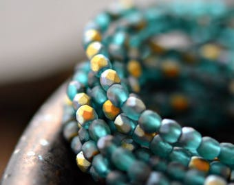 Shimmer Of Hope - Premium Czech Glass Beads, Matte Aquamarine, Aurora Borealis Finish, Firepolish, Facet Rounds 3mm - Pc 50