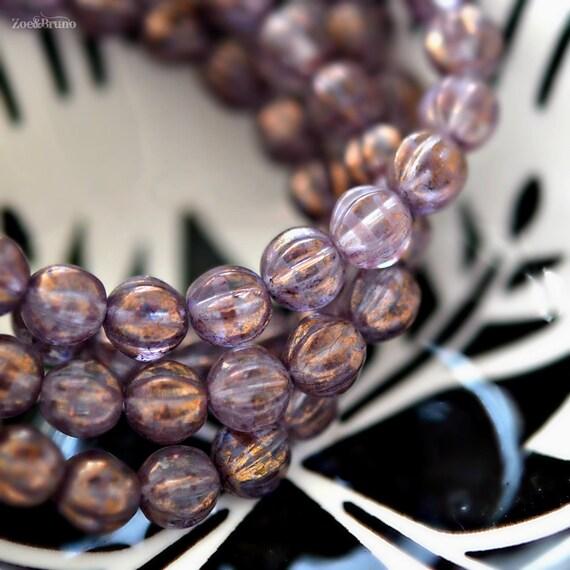 Premium Czech Glass Melon Rounds Bead Mix 6mm 25 Autumn Skies