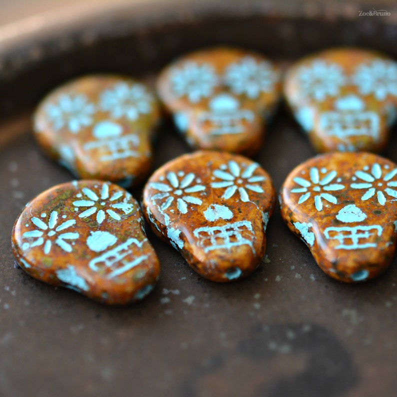 Ivory Turquoise Wash Czech Glass 2 Haunted Faces Picasso Sugar Skull Beads