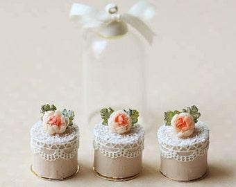 Doll House Cake - Romantic Lace Rose Mini Cakes