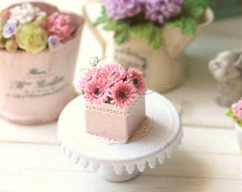 Dollhouse miniature pink gerbera daisies in 1/12 scale