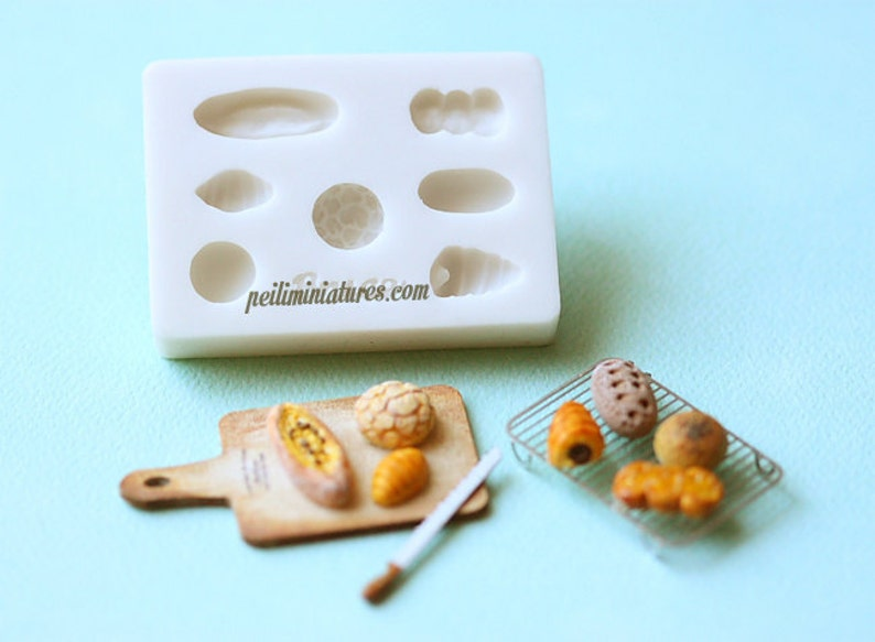 Miniature Clay Mold Push Mold for Dollhouse Miniature Assorted Breads