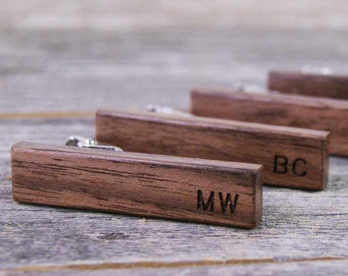 Featured listing image: Groomsmen Tie Clip Set / Groomsmen Gift / Rustic Wedding / Wedding Gift / Personalized Gift / American Walnut Wood / Monogrammed