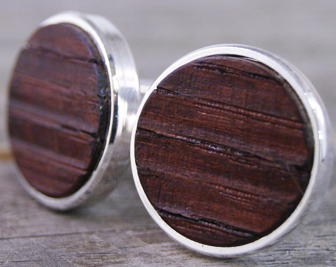 Featured listing image: Wine Barrel Oak Wood Cufflinks in Silver Bezel - Great for Wine Lovers!