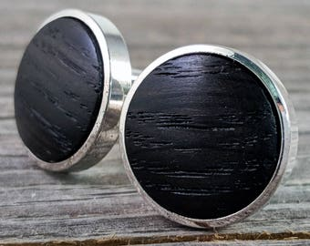 Men's Cufflinks - Russian Black Morta (Bog Oak) - Dated to 5,000 Years Old