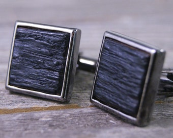 Whiskey Barrel Cufflinks in Square Gunmetal Bezel (Silver option available!)