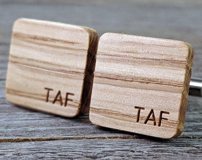 Featured listing image: Monogrammed Groomsmen Gift / Whiskey Barrel Oak Wood / Groom Gift / Best Man Gift / Rustic Wedding / Anniversary Gift / Wedding Cufflinks