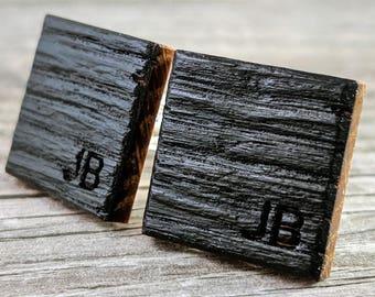 Personalized Groomsmen Gift / Whiskey Barrel Oak Wood / Groom Gift / Best Man Gift / Rustic Wedding / Anniversary Gift / Wedding Cufflinks