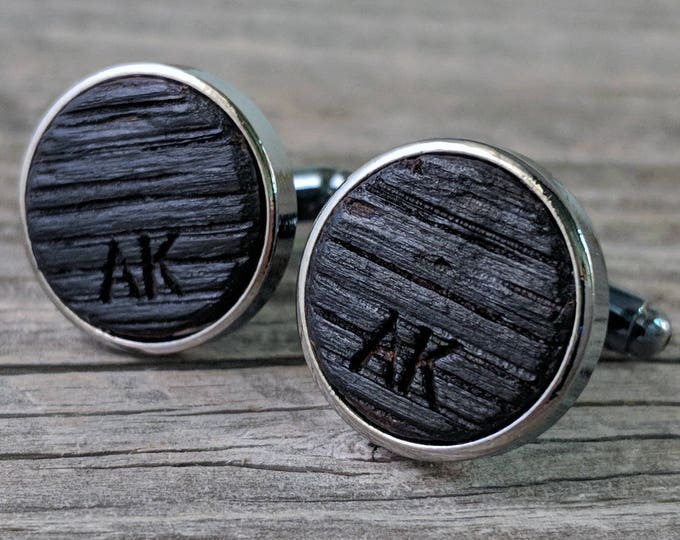 Featured listing image: Cufflinks Crafted from a Bourbon Barrel / Personalized Groomsmen Gifts / Custom Cufflinks / Personalize with Initials / Wedding Cufflinks