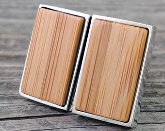 Wooden Bamboo Cufflinks / Fifth Anniversary / 5th Anniversary / Cufflinks