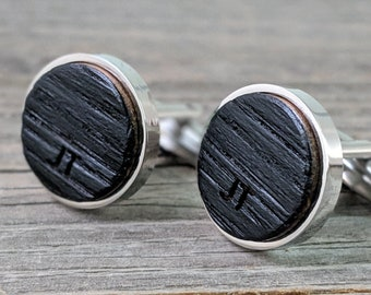 Personalized Cuff Links from a Whiskey Barrel, Whiskey Barrel CuffLinks, Wedding Gift, Groom, Engraved Cufflinks with Stainless Steel Back