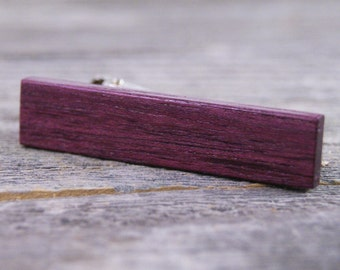 Tie Clip: Brazilian Purplheart - Excellent for Purple Weddings!