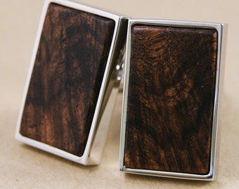 Texas Mesquite Wood Cufflinks in Rectangle Silver Bezel