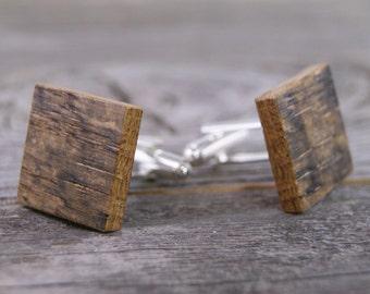 Rustic Wedding / Wedding Cufflinks / Rustic Cufflinks / Recycled Wood / Upcycled / Wooden Cufflinks / Cufflinks / Best Man Gift / Whiskey