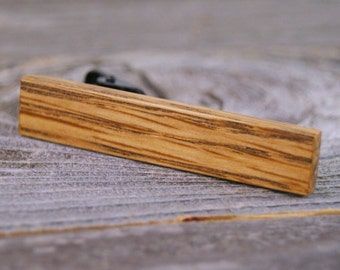 Skinny Tie Bar crafted from a Bourbon Barrel Stave tie tack