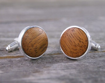 Cufflinks - Mahogany Wood in Silver Bezel cuff links