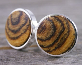 Cufflinks for Men - Mexican Bocote Thin Bezel cuff links